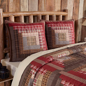 TACOMA-Quilted-Euro-Sham-Log-Cabin-Block-Lodge-Brown-Red-Plaid-Rustic-VHC