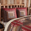 TACOMA-Quilted-Euro-Sham-Log-Cabin-Block-Lodge-Brown-Red-Plaid-Rustic-VHC thumbnail 1