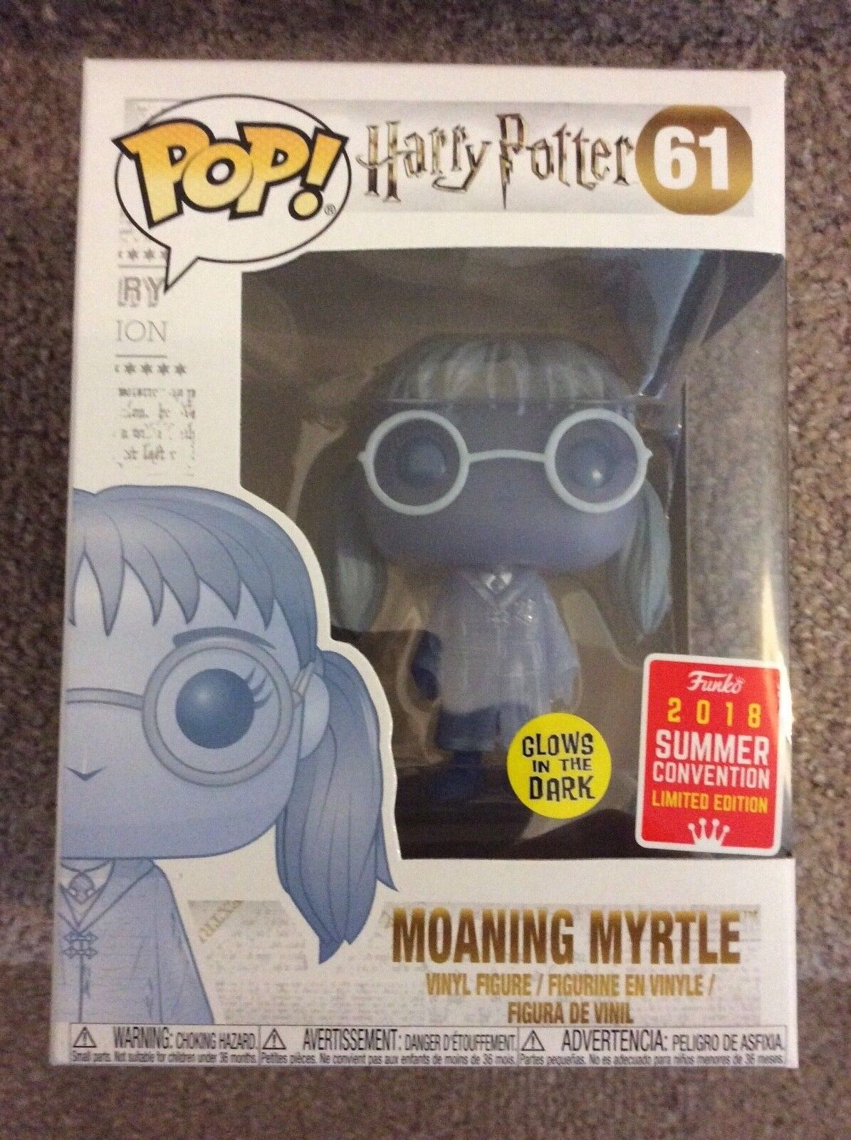 Funko Pop Moaning Myrtle Glow In The Dark Summer Convention SDCC 2018 - New