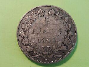 ANCIENNE-MONNAIE-ARGENT-ECU-5-FRANCS-LOUIS-PHILIPPE-1847-BB-TB-7b