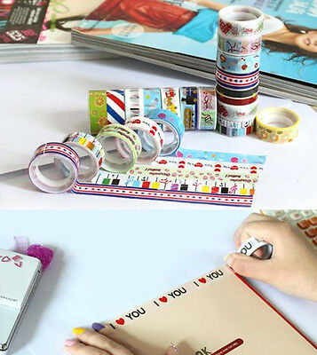 10 Rolls Lovely Cartoon Deco DIY Tape Scrapbooking Adhesive Paper Sticker Craft