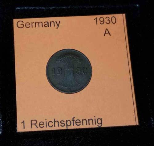 1930 A Germany Weimar Republic 1 Reichspfennig Coin VG