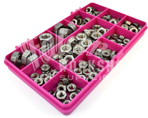 120 ASSORTED PIECE HEXAGON WELD NUTS SELF COLOUR METAL M5 M6 M8 M10 KIT