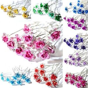 5-10-20pcs-Rose-Flower-Crystal-Wedding-Party-Bridal-Prom-Star-Hair-Pin-Clips