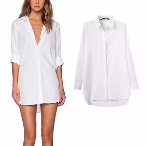 New womens classic white lapel button down boyfriend long for Womens white button down shirt