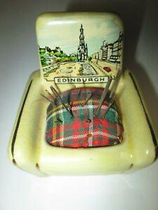 Vintage-Porcelain-Chair-Pin-Cushion-Souvenir-of-Edinburgh
