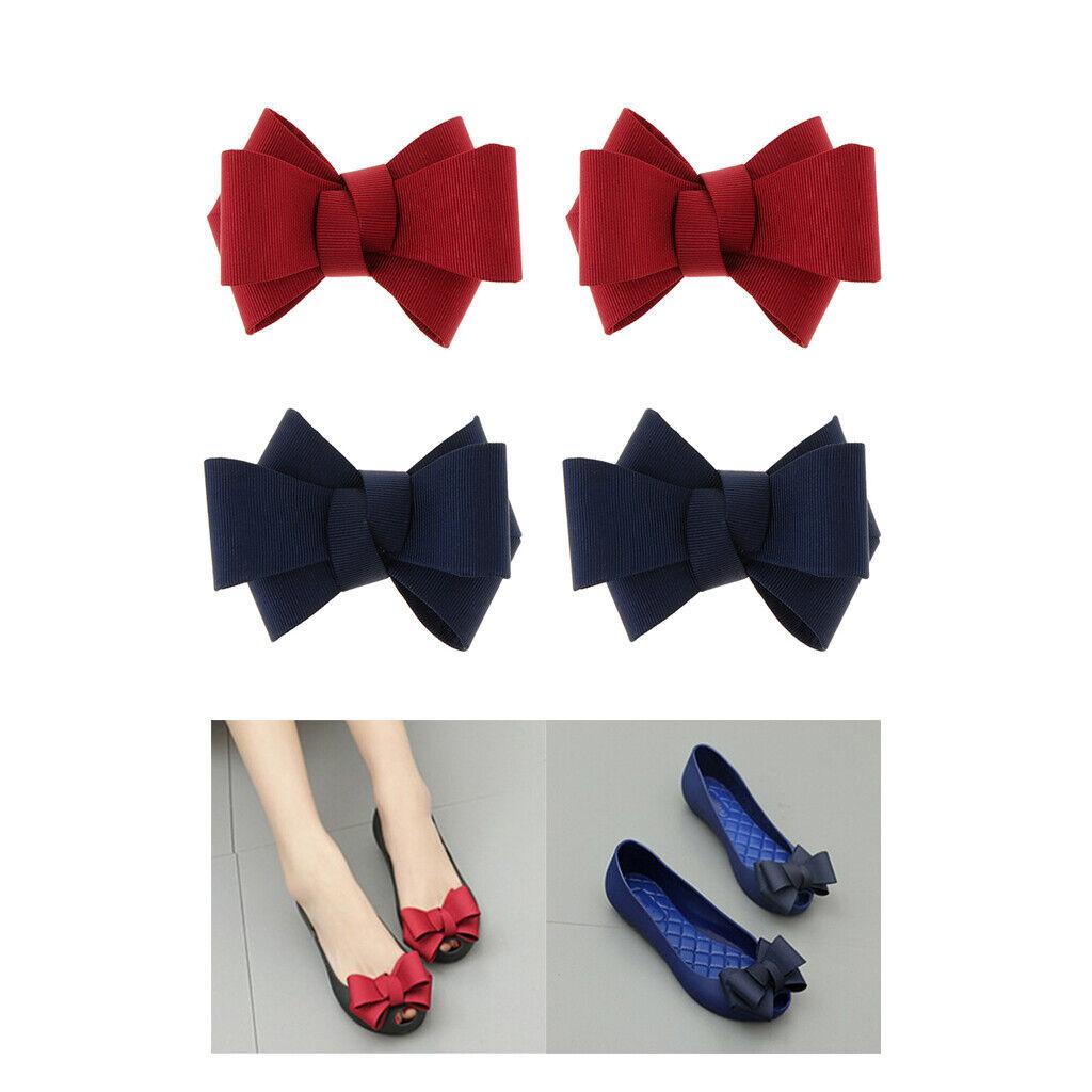 4 lot Bowknot Decorative Shoe Clips DIY Shoe Charms Buckle Ornament 2 Colors