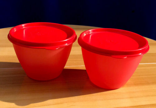 Details about  /Tupperware Refrigerator Bowl Container  Set 2-14 oz Red W//Lid same color New