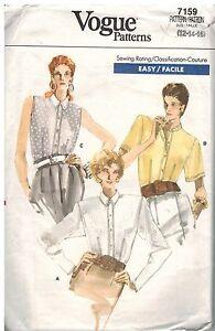7159-Vintage-Vogue-Patron-de-Costura-Misses-Semi-Entallado-Boton-Blusa-Camisa-12