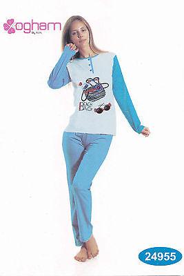Pigiama Donna Lungo Serafino. Pantalone + Manica Lunga Ogham, 24955 Puro Cotone. Gamma Completa Di Articoli