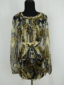 Elie-Tahari-5F-Bergdorf-Vintage-Brown-Paisley-Silk-Tunic-Top-Blouse-Womens-Small