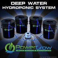 Deep Water Culture System Dwc Hydroponic Powergrow 4 Bucket Kit - 6 Basket Lids