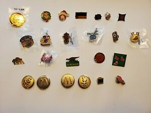 Mcdonalds pin LOT Store employee character gang 24 total mostly crew pins .