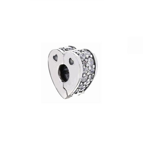 Argent Sterling 925 Pan de nouveaux symboles Claire Clips Clip Charms Pour Bracelet Breloque