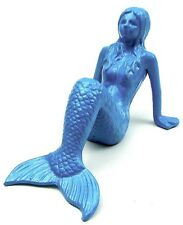 Cast Iron Large Sitting Mermaid Painted Blue  In/Outdoor Nautical Decor