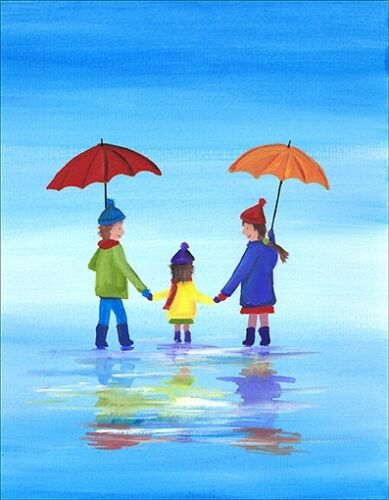 UK ARTIST CHILDREN WALKING IN RAIN SCA ART SIGNED PRINT OF ORIGINAL PAINTING