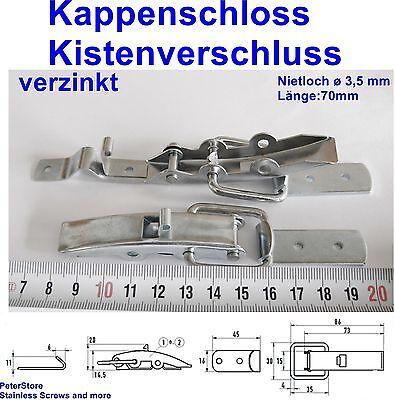 40mm Kistenverschluss mit Federsicherung verzinkt  Nietloch ø 3,4 mm  Länge