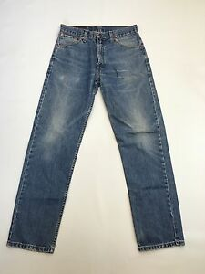 Herren-Levi-521-034-Straight-034-Jeans-W32-L32-Faded-Navy-Wash-super-Zustand