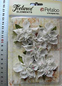Textured-Burlap-IVORY-Poinsettias-x-5-flowers-with-Leaves-5-6cm-across-Petaloo-L
