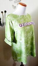 KAREN SCOTT Size XL Short Sleeve Green w/ White Floral Print Cotton Shirt Top
