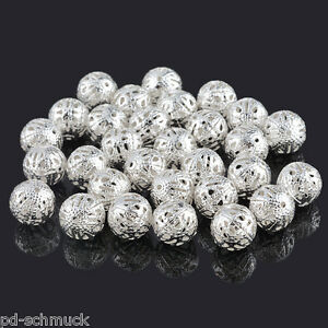 P-D-50-Versilbert-Filigran-Ball-Perlen-Beads-12mm