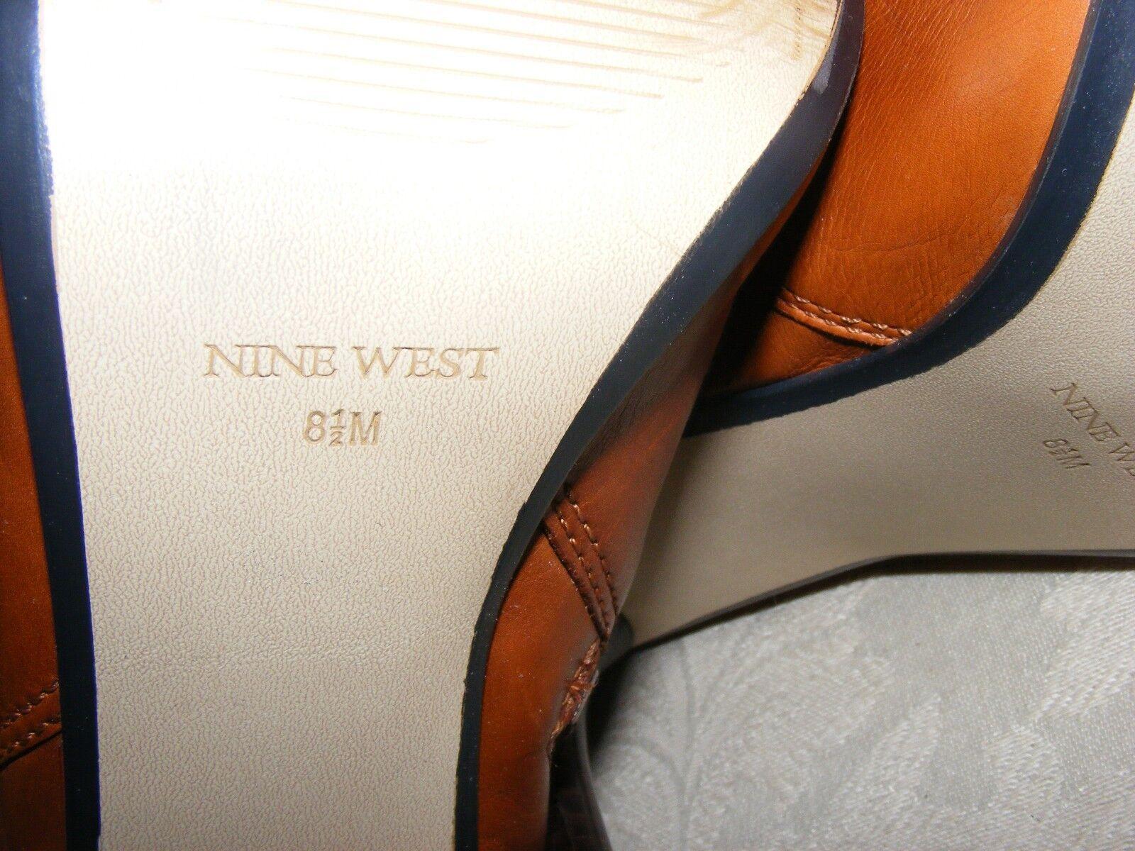 NINE WEST WEST WEST FASHION bottes, Camel Knee-High Faux Fur Trim Stacked High Heels, 8.5 M 1c4a04