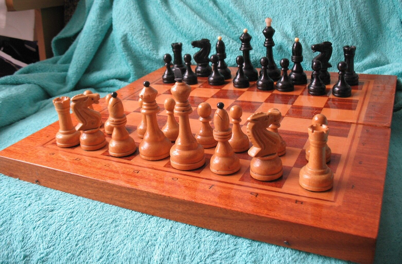 Russian Soviet Old Wooden Chess Man Board Figure Brain Game Big Old Wood Vintage