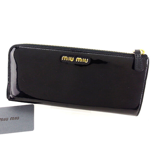 miumiu Wallet Purse Long Wallet Black Gold Woman Authentic Used T2984