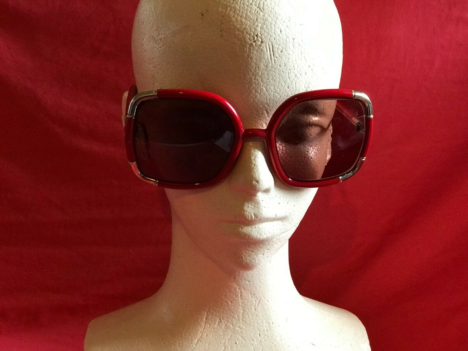 Vintage Original Ted Lapidus Sunglasses 1970s Red… - image 1
