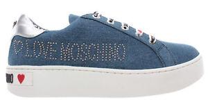 LOVE-MOSCHINO-Cassetta-35-Denim-Blu-Scarpe-Donna-Sneakers-Nuove