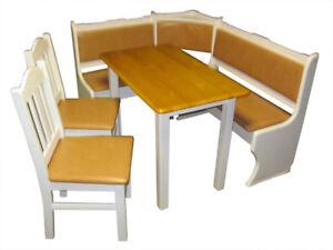 Eckbankgruppe-Kiefer-Eckbank-Essgruppe-Sitzgruppe-Kunstleder-Tisch-NEU
