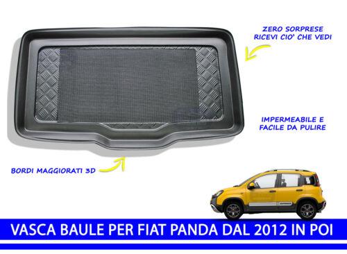 VASCA BAULE PER PANDA 4x4 dal 2012 IN POI IN PROTEGGI BAGAGLIAIO CON BORDI 3D