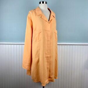 Size-3X-Soft-Surroundings-Orange-Hemp-Tencel-Tunic-Top-Shirt-Women-s-Plus-New