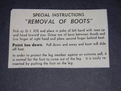 Replacement Copy of Rare GI JOE Removal of Boots Instructions