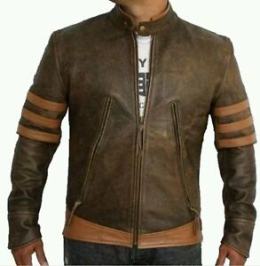 X-MEN-1-Wolverine-Origins-Logan-Biker-Real-Leather-Jacket-Sizes-S-M-L-XL-xxl