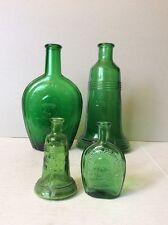 Vtg Liberty Bell & Benjamin Franklin Green Glass Figural Purfume Bottles 2 set