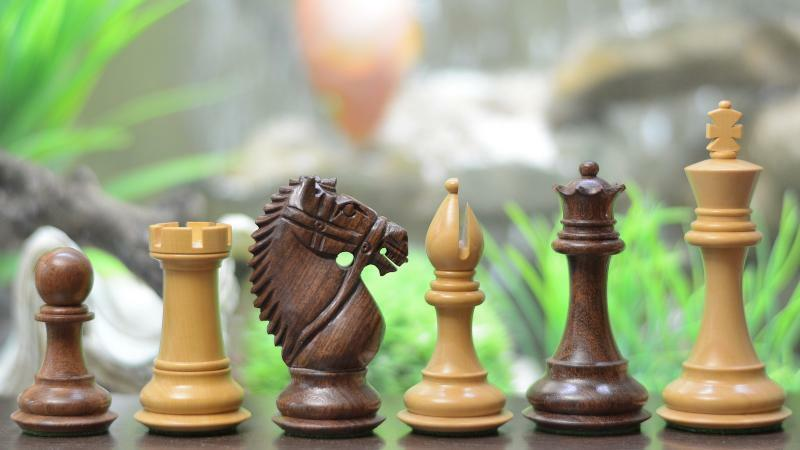 The Bridle Knight Series Wooden Chess Pieces in Sheesham & Box Wood - 4.0  King
