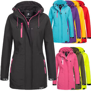 Rock Creek Damen Softshell Jacke Mantel Damenjacke Lang Kapuze Outdoor D-423