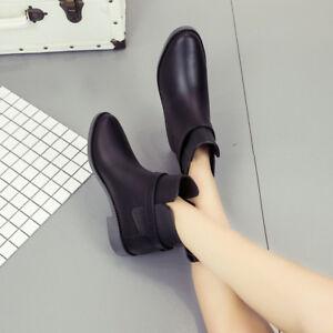 Women-Ladies-Shoes-Rain-Boots-Chelsea-Ankle-Boots-Waterproof-Rubber-New-US-2019