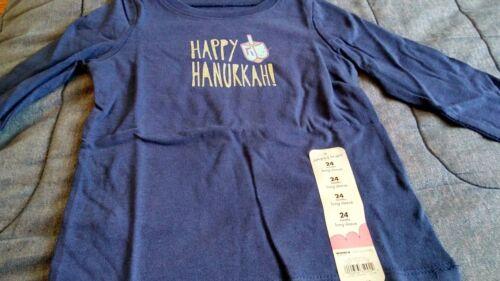 Baby girl blue long-sleeved shirt 24 months new happy Hanukkah draydel menorah
