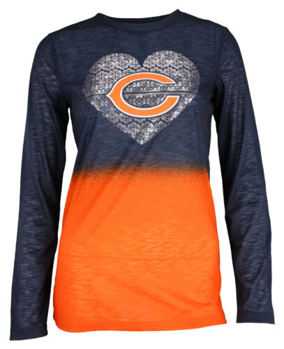 Outerstuff NFL Youth Girls Chicago Bears Long Sleeve Slub Knit Tee 4-18