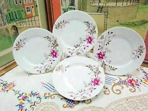 4-PC-ANTIQUE-OLD-PARIS-PURPLE-FLORAL-7-5-8-034-SALAD-PLATES