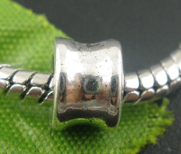 50 Perles intercalaires Lisse pr Bracelet Charms 8x6mm