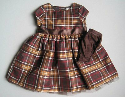 Crazy 8 Baby Girls 6 9 12 Mo HOLIDAY PARTY Brown Plaid Dress EUC Bow
