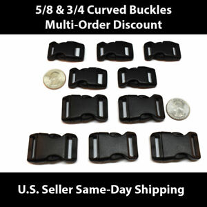 100 Pcs Plastic Black Curved Buckle w//Lock for Bracelet Side Release Buckles