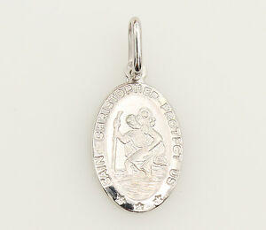 14K-Solid-Real-White-Gold-Small-Oval-Religious-St-Christopher-Medal-Pendant