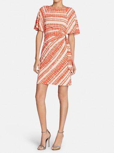 Tahari ASL Petite Dress Sz 6p Khaki Tangerine orange Flutter Sleeve Print Jersey