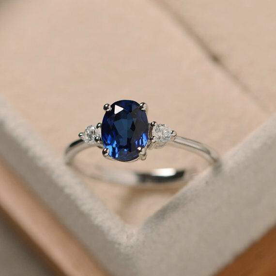 14K White gold Rings 1.70 Ct Oval Cut Real bluee Sapphire Diamond Engagement Ring