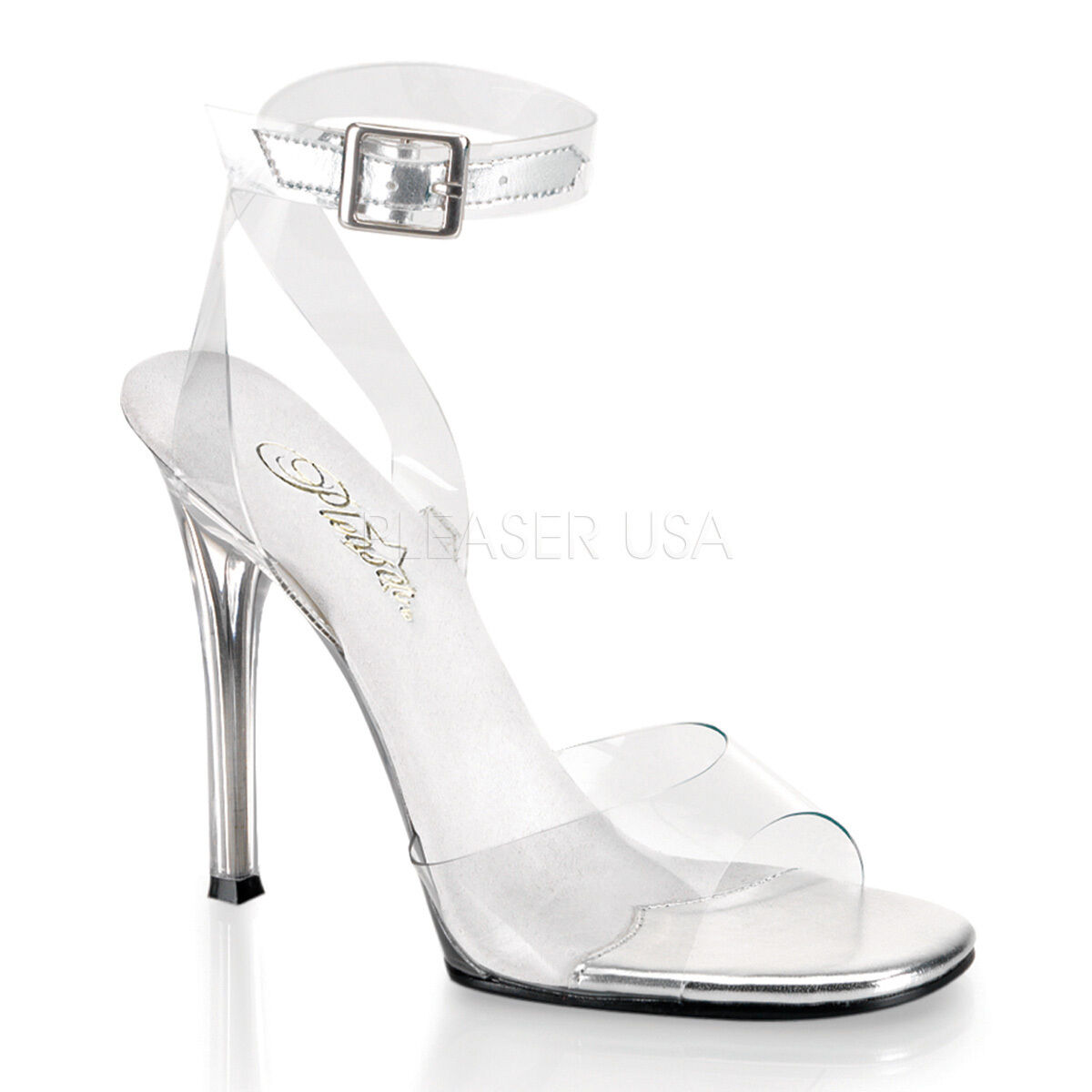 PLEASER Sexy shoes Pageant Clear 4 1 2  High Heels w  Ankle Strap GALA06 C M