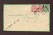 ST VINCENT 1934 GREEN EDGED ENVELOPE POSTED on HIGH SEA HANDSTAMP to DETROIT USA